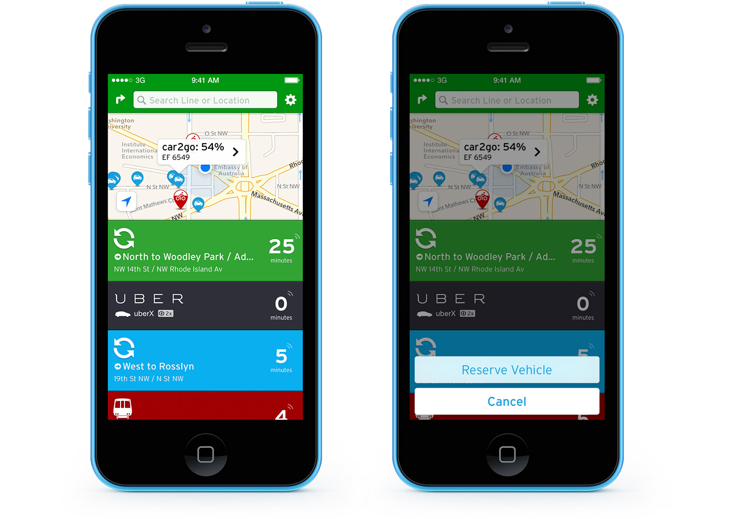 Transit App with Car2go integration