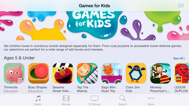 Apple rolls out a tailored 'Games for Kids' section on the App Store