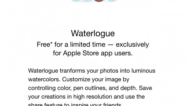 Get the popular watercolor photo app Waterlogue for free through the Apple Store app