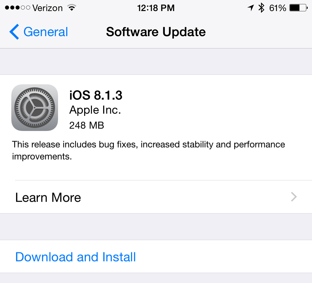 Apple's newly released iOS 8.1.3 reduces the amount of storage required to update