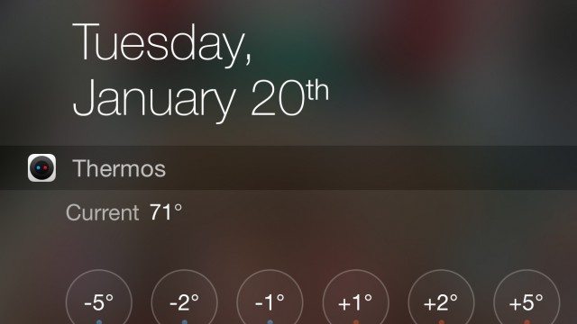 Use Thermos to adjust your Nest Learning Thermostat from an iOS 8 Notification Center widget