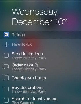 Powerful to-do app Things updated with an iOS 8 Notification Center widget