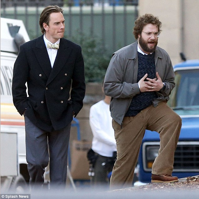 Michael Fassbender as Steve Jobs and Seth Rogen as Steve Wozniak