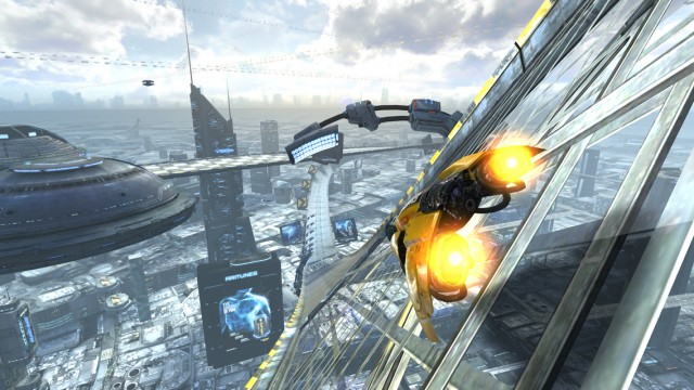 Fly down futuristic tracks and become the best anti-gravity racer in AG Drive