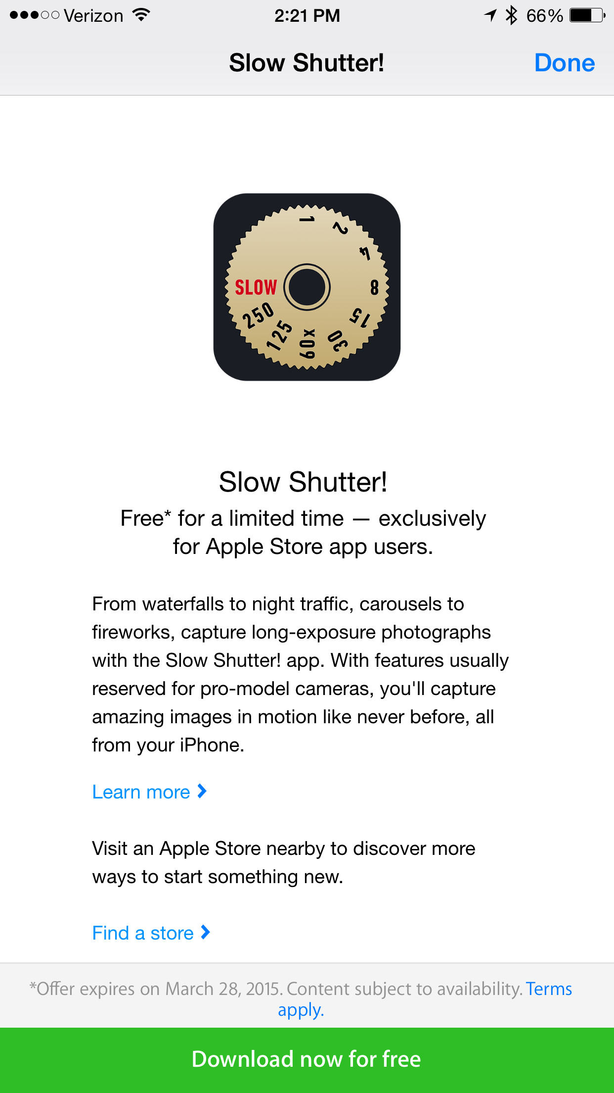Grab great photography app Slow Shutter for free via the Apple Store app