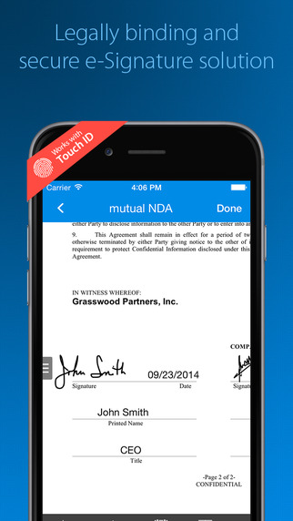 SignEasy for iOS.
