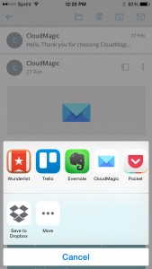 CloudMagic Save To App