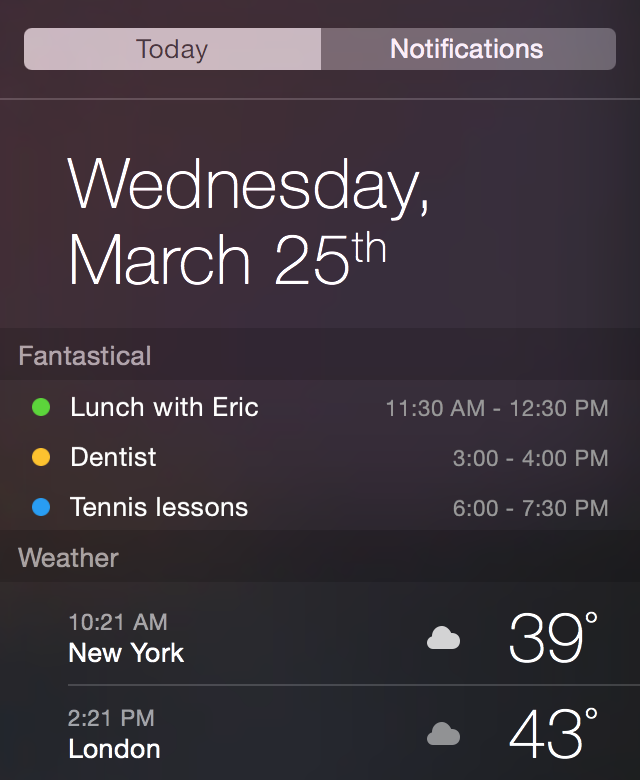 Fantastical 2 for Mac Today Widget