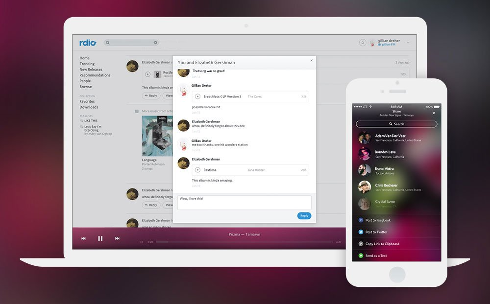 Streaming music service Rdio adds additional sharing and discovery features