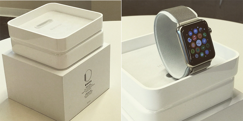 The packaging for the stainless steel Apple Watch with Milanese Loop.