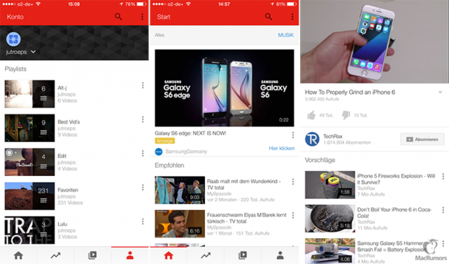 YouTube's redesigned app interface.