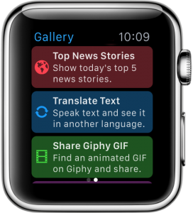You can download new, Apple Watch-focused workflows using the app's Gallery feature.