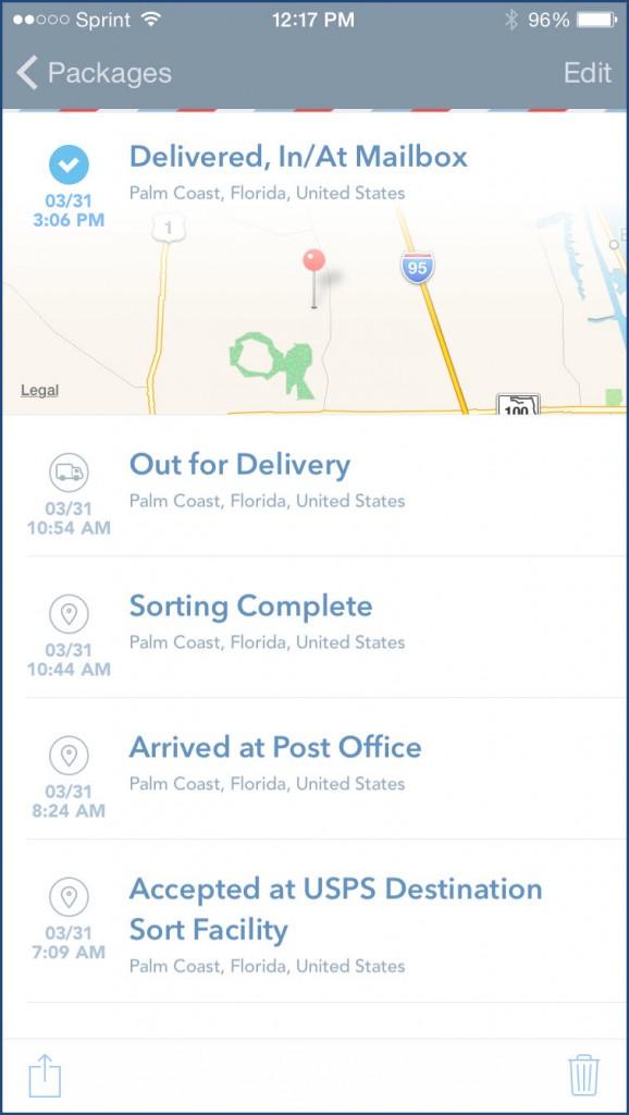 Delivered Package Detail