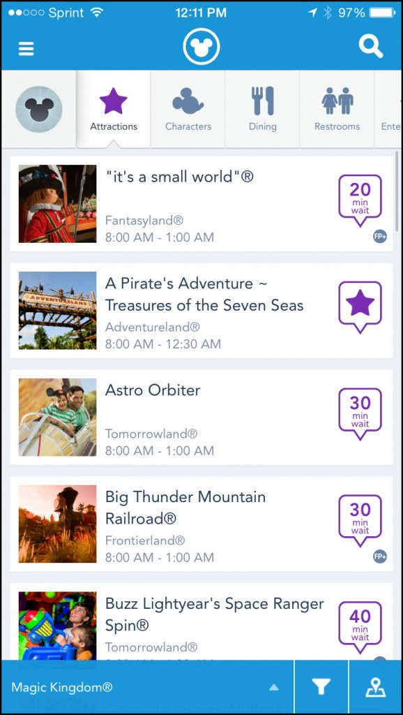 My Disney Experience Attractions