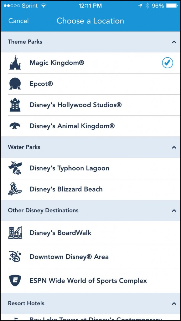 My Disney Experience Destinations