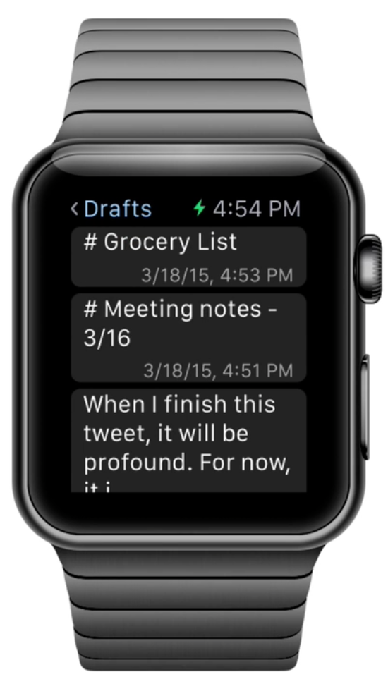 The Drafts Apple Watch app.