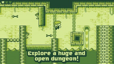 Set out to collect treasure in Tiny Dangerous Dungeons, a Game Boy-style Metroidvania platformer game