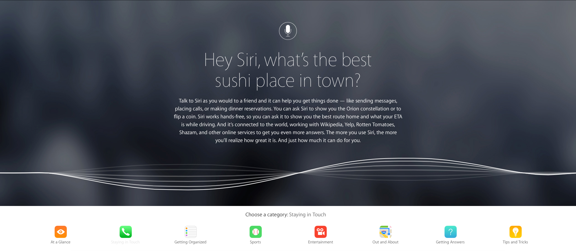 Apple unveils an updated, comprehensive site for its voice-controlled personal assistant Siri