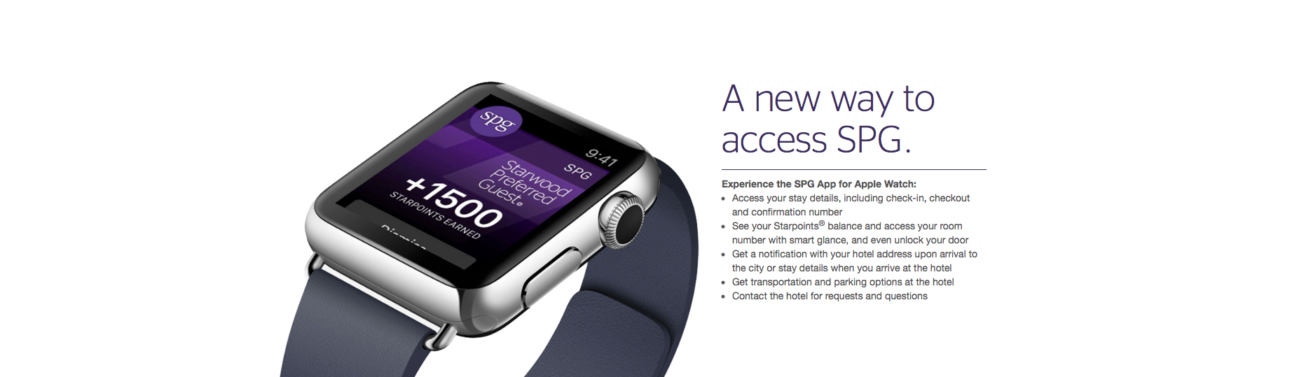 Check-in and open your hotel room door with the Starwood SPG app for Apple Watch
