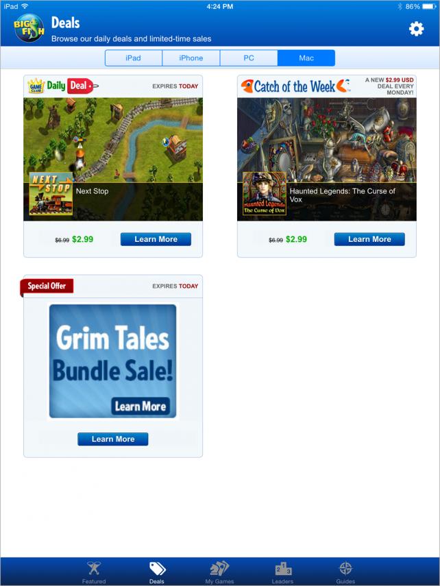 Big Fish Games App Deals