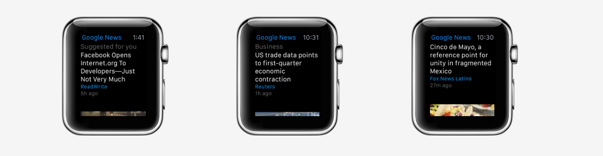 Google News & Weather is the company's first app to support the Apple Watch