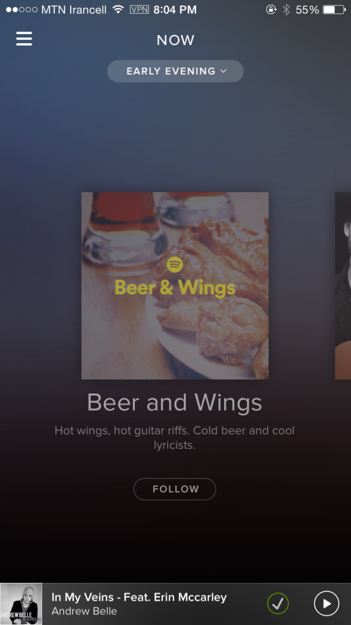 Spotify's redesigned iOS app, featuring the Now start page