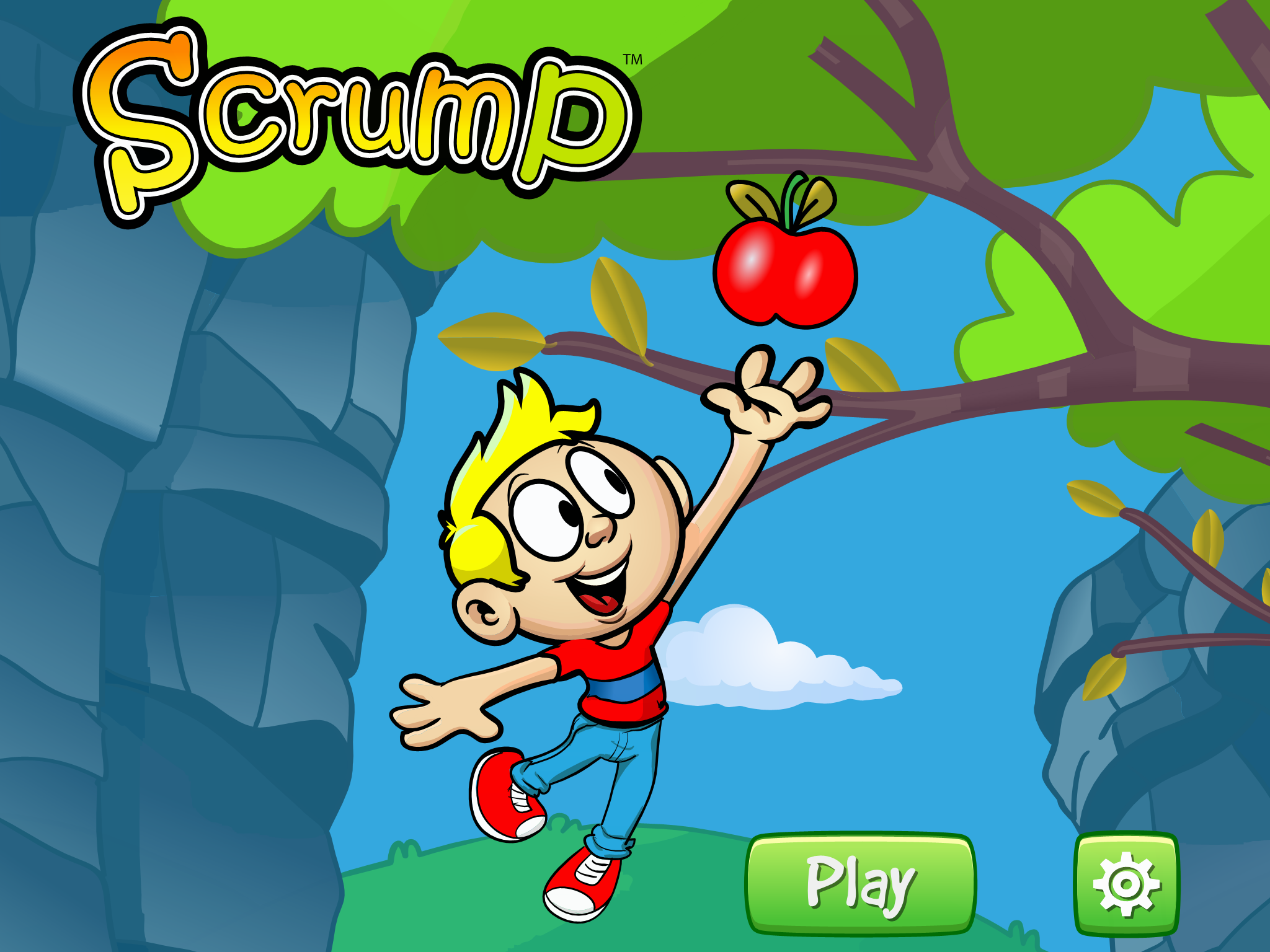 Bounce as high as you can to grab fruit and reach new levels in Scrump