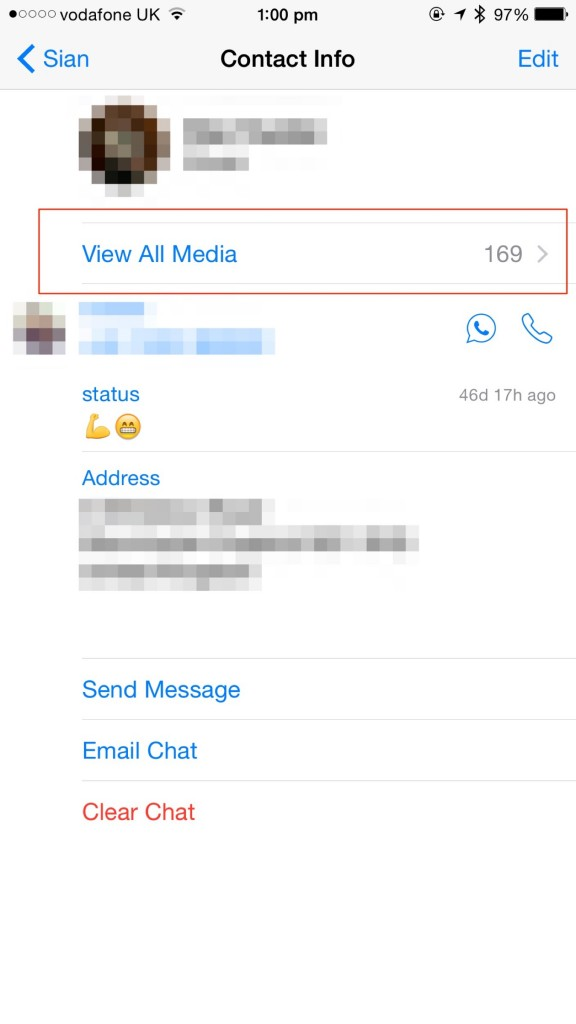 "You'll need to find the ""View All Media"" button at contact pages in WhatsApp Messenger."