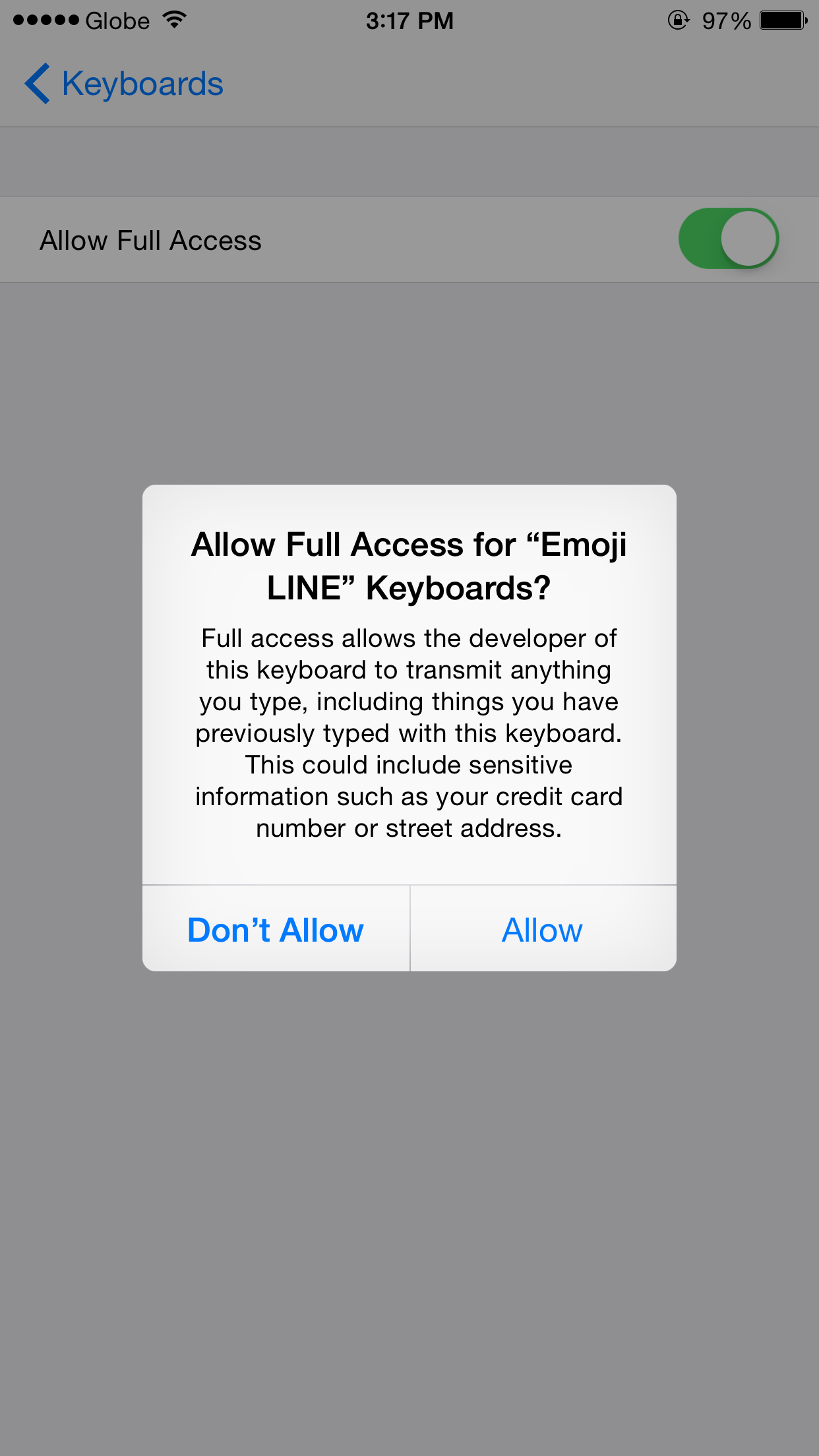 """Allow Full Access"" for Emoji Keyboard by Line"