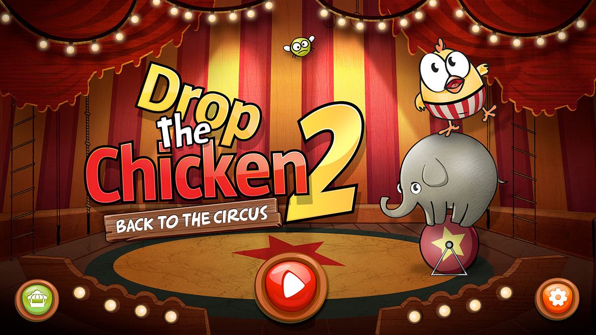 Bounce off elephants and avoid lions in Drop The Chicken 2
