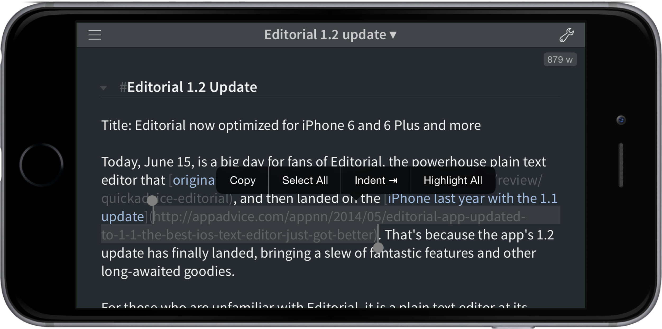 Editorial 1.2 now optimized for the iPhone 6 and 6 Plus and more