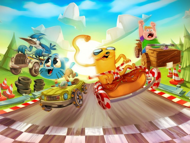 Race with Gumball and Finn in Formula Cartoon All-Stars