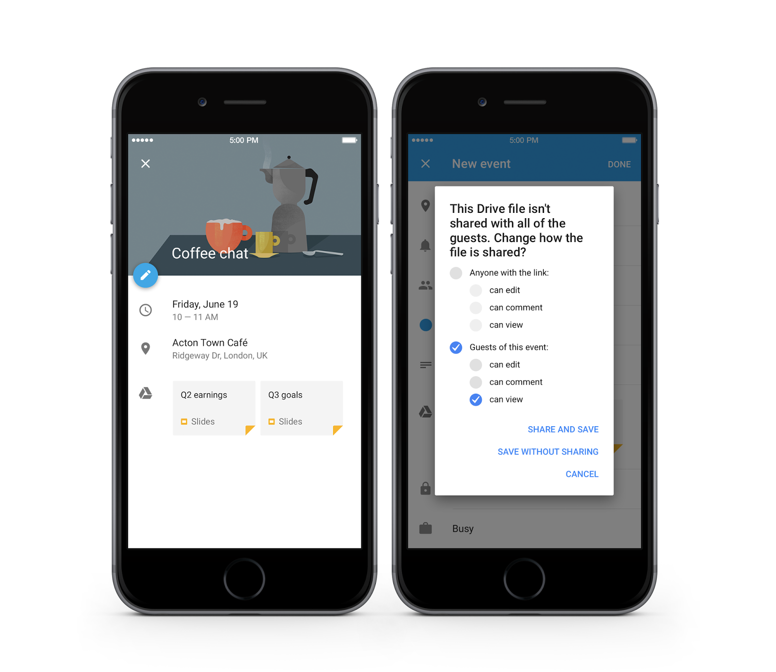 Google Calendar with Drive integration