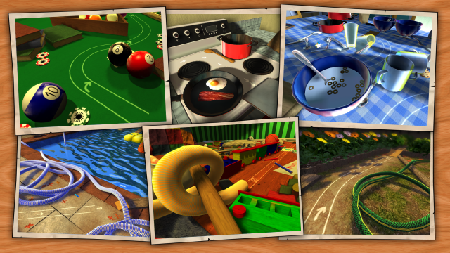 Skid around a pool table or kitchen sink in Swing Racers