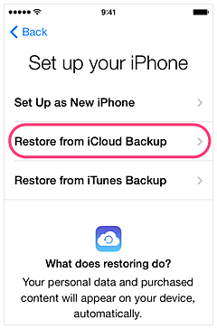 Restoring from iCloud backup, the Apple way