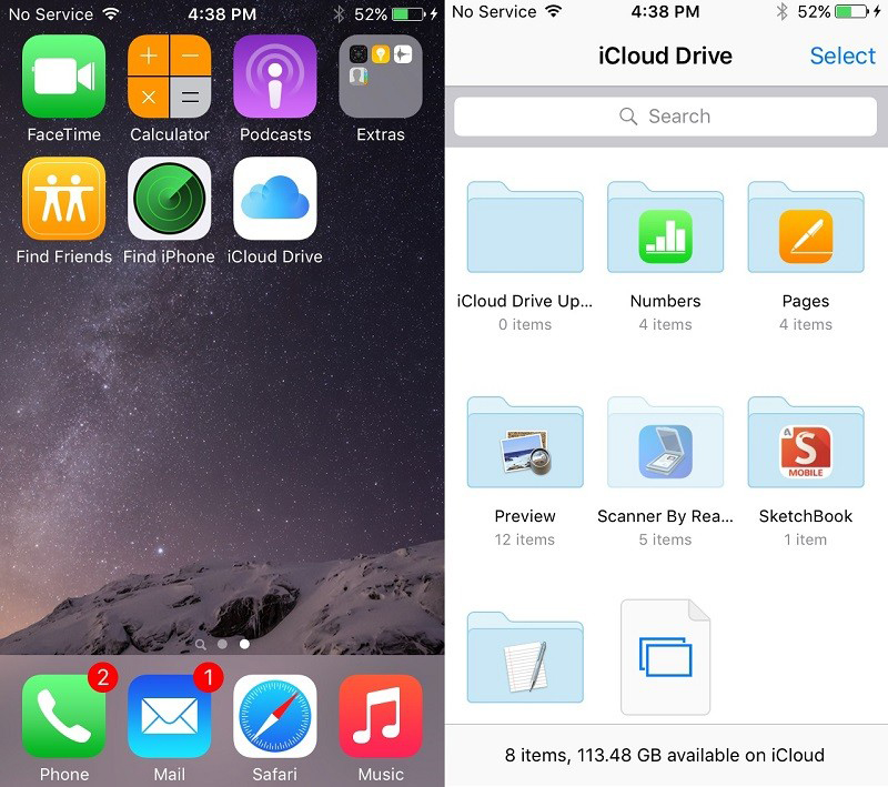 Apple's iOS 9 offers a dedicated iCloud Drive app