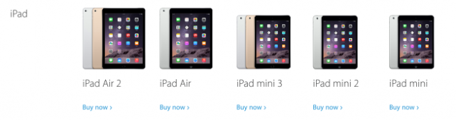 Apple's lineup of iPads, yesterday (Courtesy of 9to5Mac)