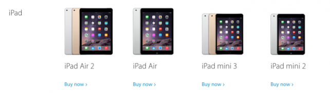 Apple's lineup of iPads today, sans the original iPad mini (Courtesy of 9to5Mac)
