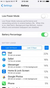 Battery information in iOS 9 includes time on screen and in the background