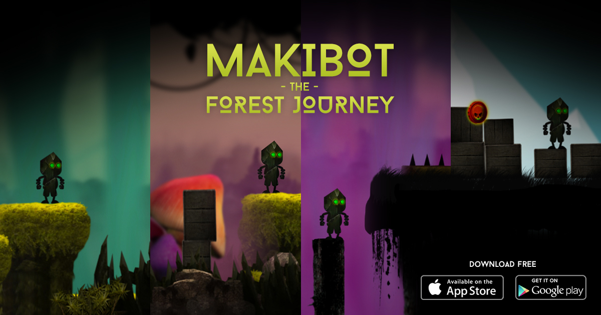 Guide your steampunk robot through a strange and dangerous world in Makibot Forest Journey