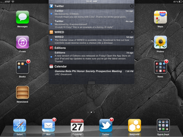 Notification Center in iOS 5. Source: MacLife
