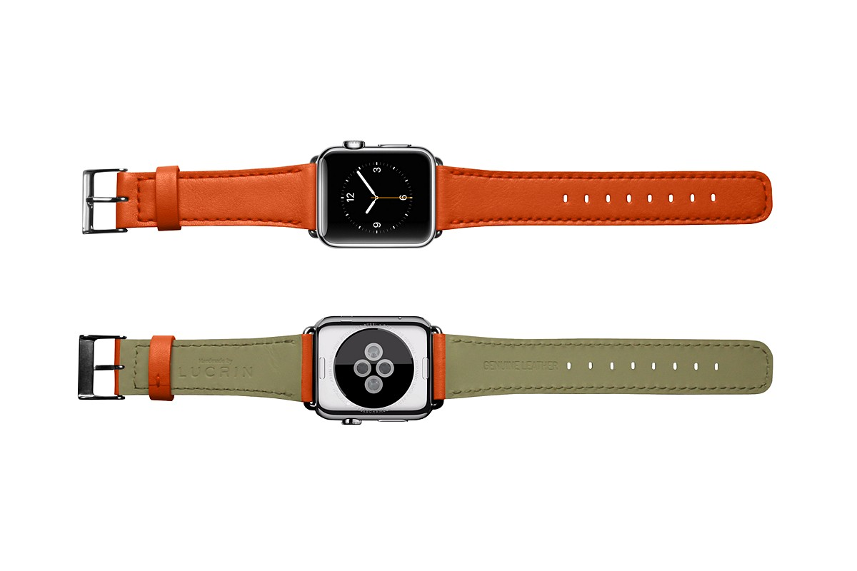 interchangeable rally perforated apple smooth for watch bands black leather orange shop band and tech straps