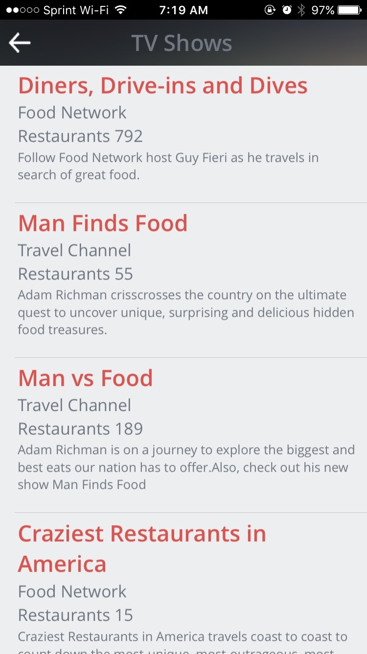 find guy fieri's favorite places to eat with tvfoodmaps - once you find a restaurant you think you might want to try out thelistings page gives you address and phone number information along withwhat shows the