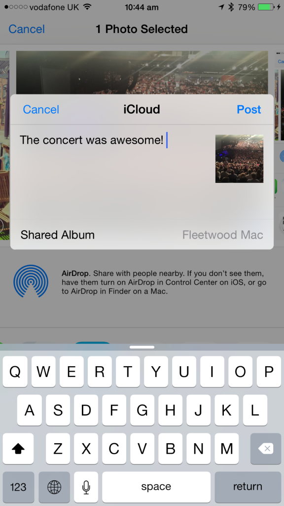 Add a comment, choose an album, and send the image off to the cloud (or, rather, the iCloud!).