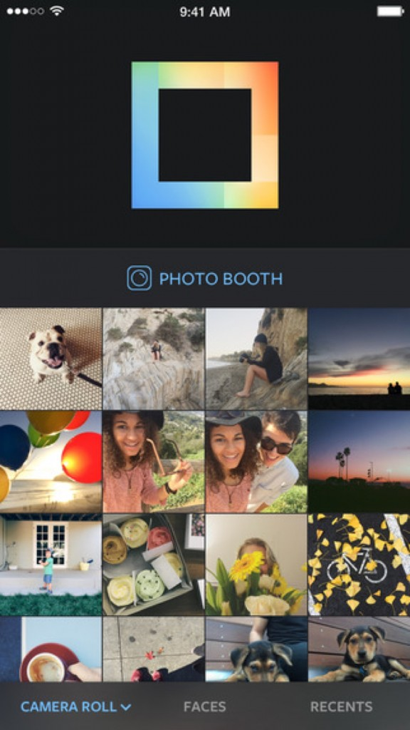"You can either import photos you've already taken, or you can take brand new ones using Layout's built-in ""Photo Booth"" feature."