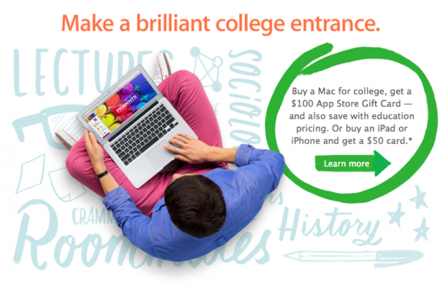 Apple's previous Back to School promotion.