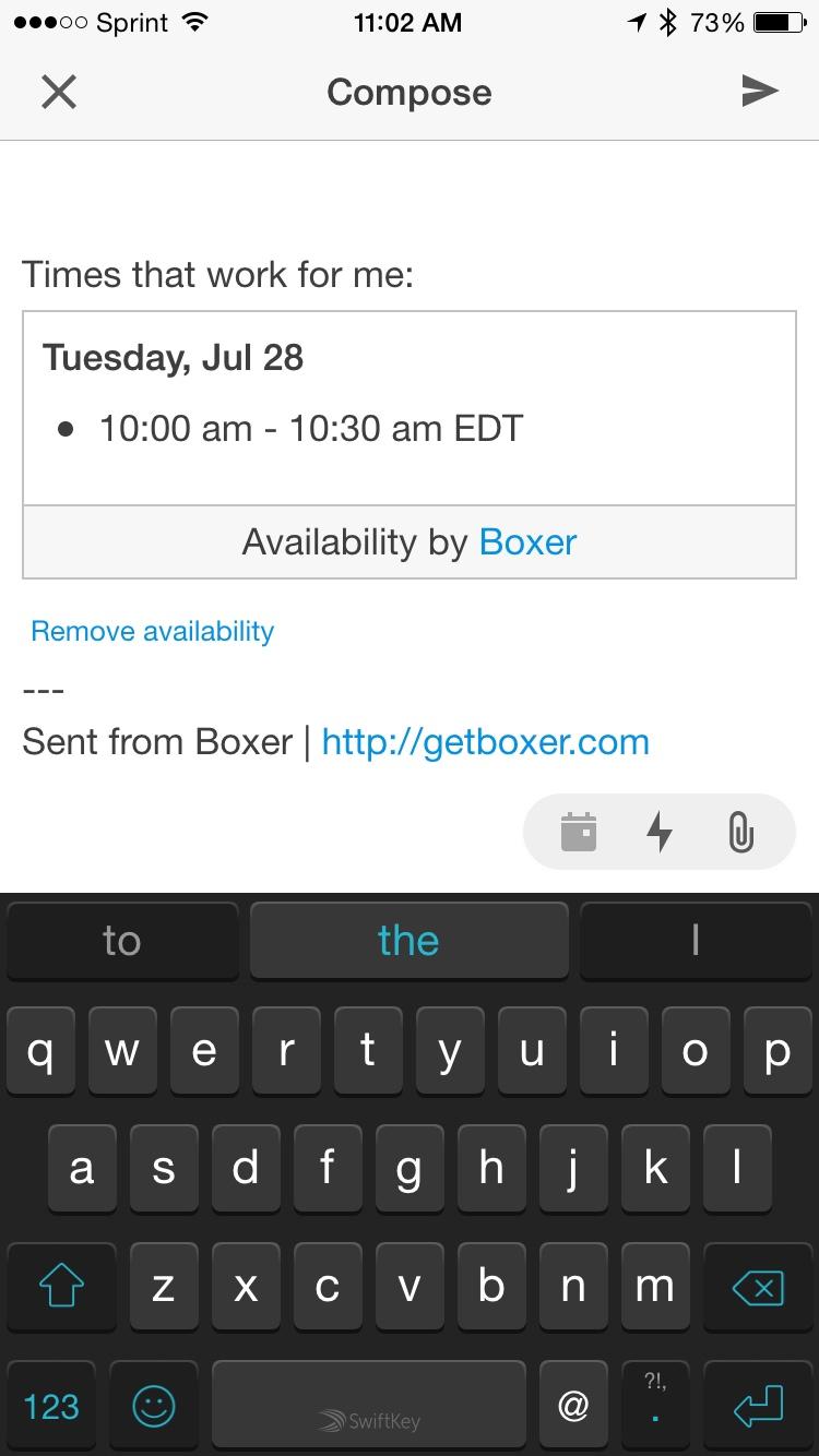 Boxer Send Availability