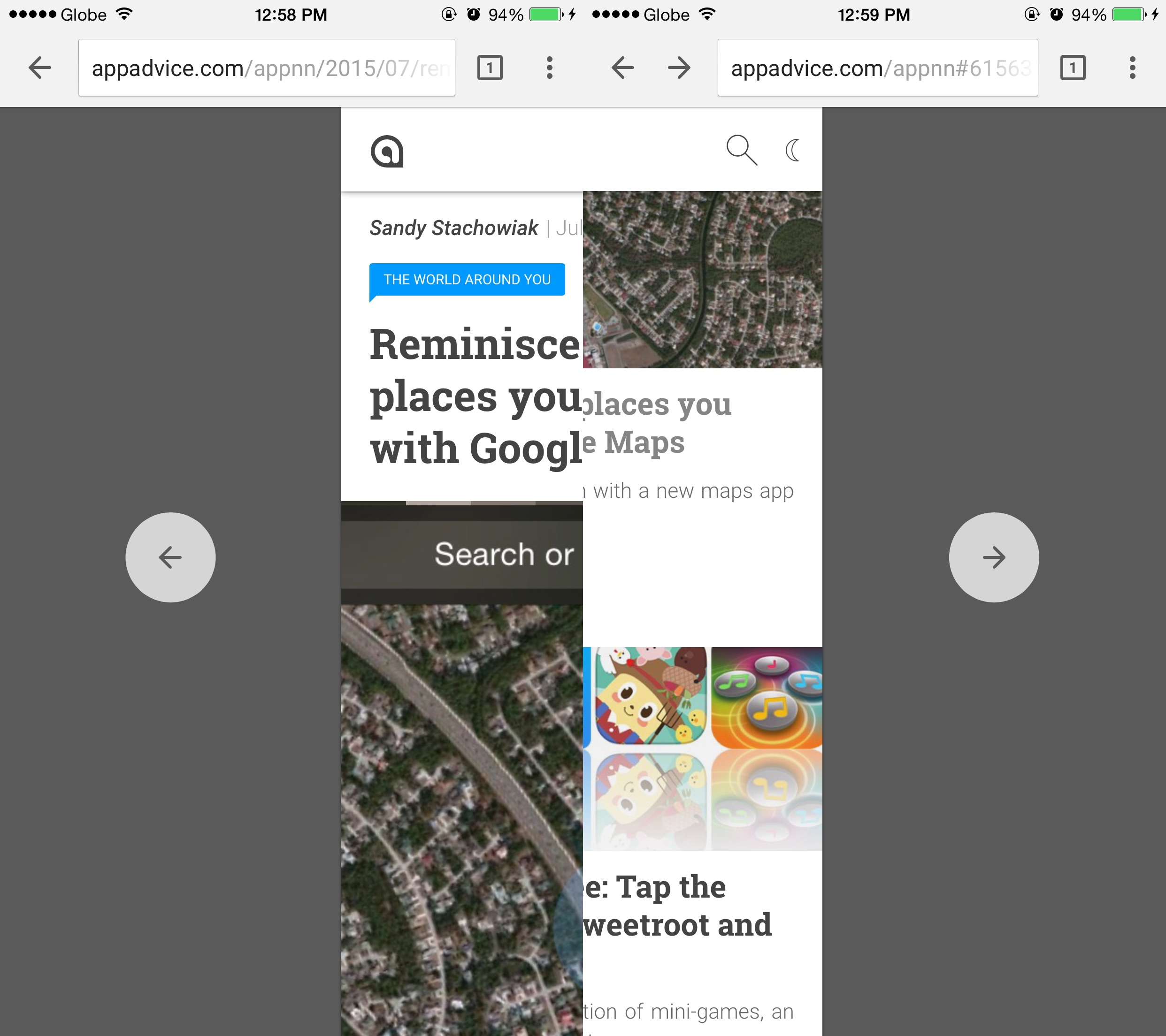 Swipe to navigate in Chrome for iOS.