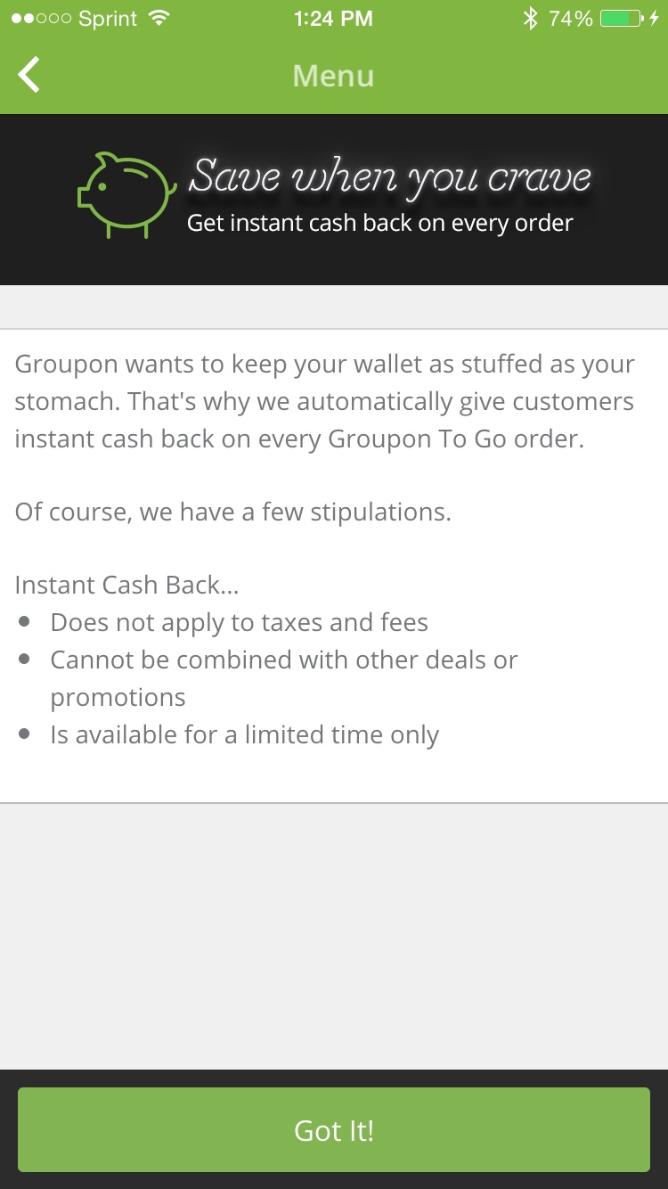 Groupon To Go Cash Back