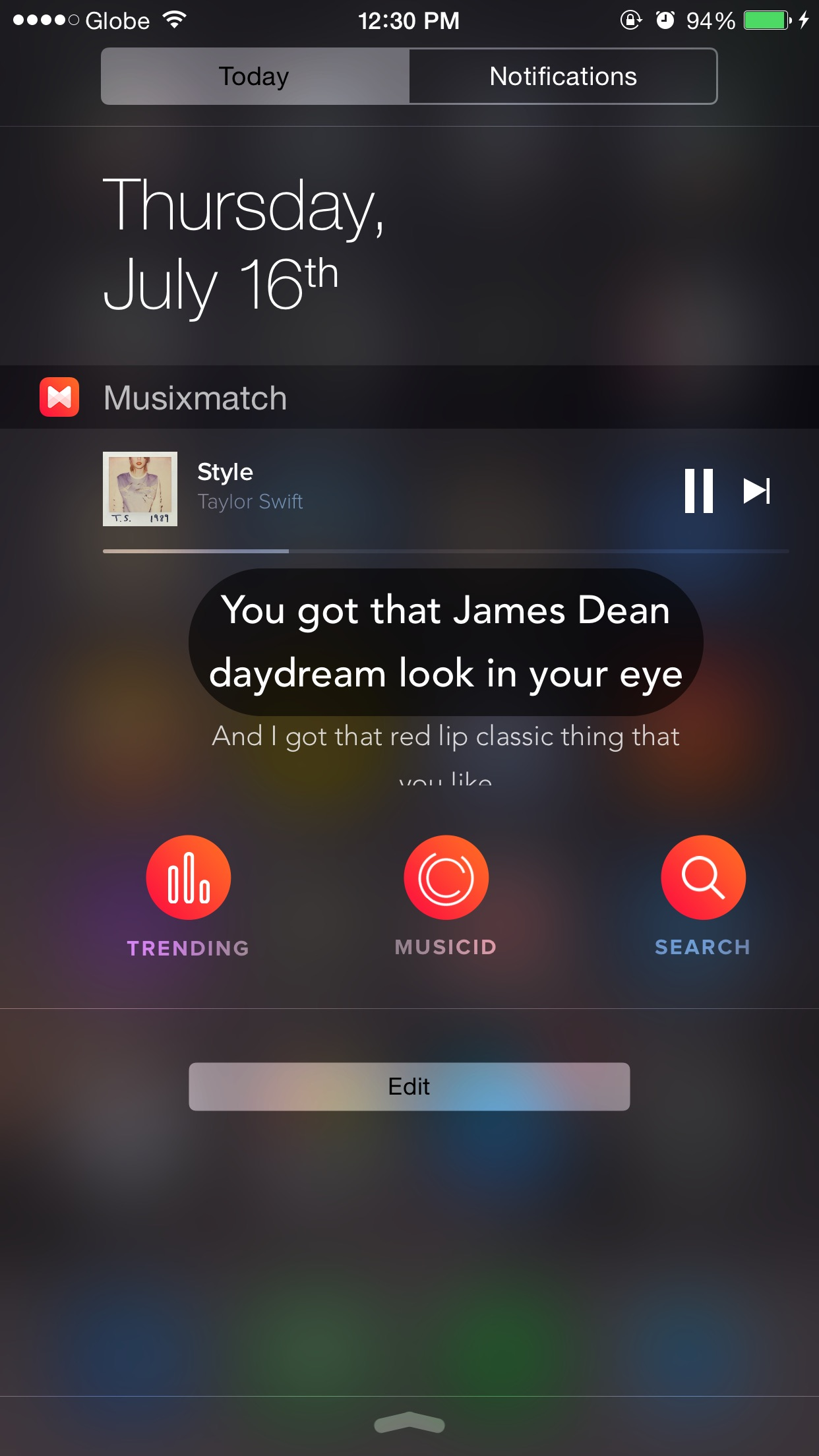 Previously, Musixmatch's Today widget had buttons for quickly accessing certain app features.
